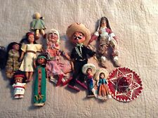 "VINTAGE LOT OF 10 DOLLS MARIONETTES SPANISH NATIVE AMERICAN GERMAN MEXICAN 6""-18"