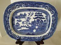 """VINTAGE blue willow serving platter, JKMPB & CO., 12"""""""