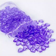 New! 225 pcs Acrylic Purple Heart Shape Gems Vase Filler Confetti Table Scatter!