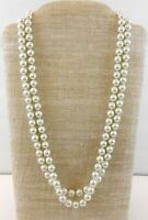 Vintage Kissaka Faux Pearl Strand Necklace Knotted 10mm Pearls