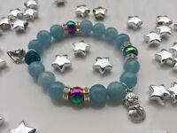 Damenarmband Armband Edelsteine handgefertigt Weihnachten Winter Jade Hämatit