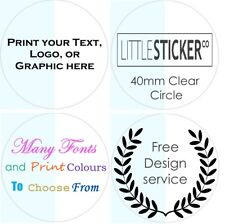 CLEAR circle Personalised Stickers Invitation labels envelope seals glossy x50.