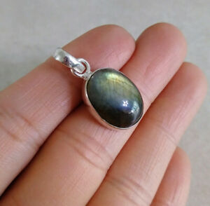 """NATURAL OVAL BLUE FIRE LABR 925 STERLING SILVER PENDANT 1"""" NECKLACE CHARM"""