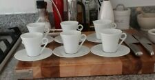 Set of 6 Limoges Demi Tasse White Cups and Saucers