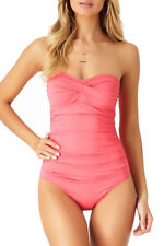 Anne Cole Womens Twist Front Shirred One Piece Swimsuit-NWOT (Strawberry, 12)