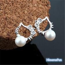Lovely Kitty Cat Pearls Ear Studs Women Jewelry Gifts  Silver Plated Earrings