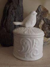 Ceramic Bird Trinket Box Candle- White