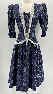 Jessica McClintock Gunne Sax Vintage Blue Floral Puff Shoulder Prairie Dress