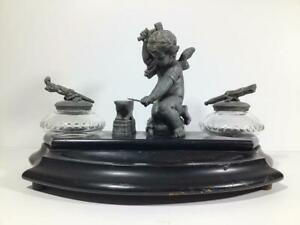 ANTIQUE 19th CENTURY FRENCH FIGURAL INK WELL STAND ~CUPID FORGING ARROWS~
