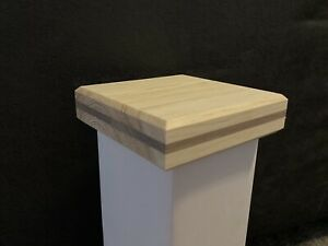 Solid Pine And Walnut Unique And Modern Newel Post Cap, Fence Post, Stair Parts
