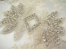 Gorgeous Crystal Bridal Applique Diamante Trim Beaded Motif Wedding Applique