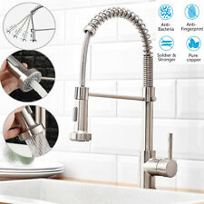 Solid Brass Kitchen Faucet Swivel Spout Single Handle Sink Pull Down Spray Mixer