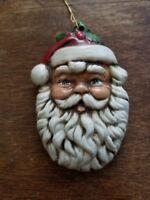 GORGEOUS VINTAGE 3D HANDMADE CHRISTMAS TREE SANTA CLAUS FACE HEAD ORNAMENT