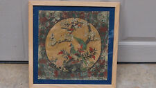 ANTIQUE 18C CHINESE OIL ON LEATHER PAINTING BIRDS AND BLOSSOMING FLOWERS