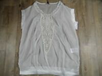 WE ARE REPLAY tolles transparentes Tunikashirt Boho creme m. Spitze Gr. S NEU