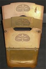 Antique Art Nouveau Brass Inkwell & Folding Letter Rack GES GESCH Germany