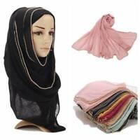 High Density Scarf  Women Muslim Shawl Wrap Gold Edge Hijab Head Scarf Muffler