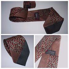"Vintage 60's 70's "" Cosma "" Red Black Pewter Geometric Polka Dot Necktie / Tie"