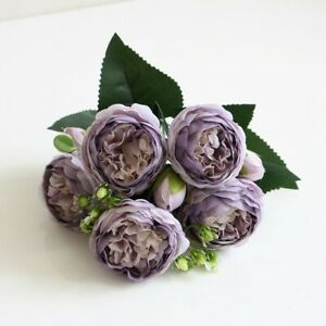 1 Bunch Silk Peony Artificial Flowers Fake Bouquet Wedding Home Party Decoration
