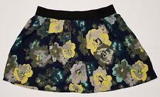 SO Women's Floral Skirt Size Large Black Rayon EUC