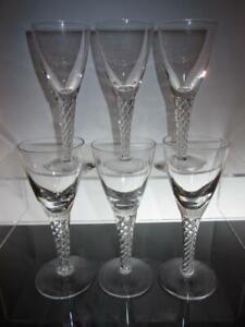 "Set of Six (6) STUART Crystal ""Ariel"" ""Iona"" Air Twist Stem Glasses, 5 3/4"""