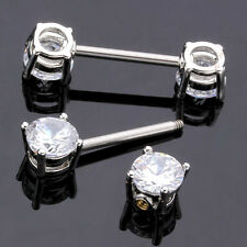 PAIR 14G CLEAR CZ PRONG SET ROUND NIPPLE RINGS SURGICAL STEEL BARBELLS PIERCING