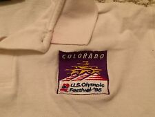 Colorado US Olympic Festival 1995 Polo Shirt L Large Vintage Embroidered White