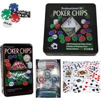 Set Poker Texas 100 Fiches Numerate Chips Cofanetto Idea Regalo Gioco 3096