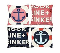 "Set 4 Nautical Beach Throw Pillow Case Covers Sofa Hook Line + Sinker 18"" X 18"""