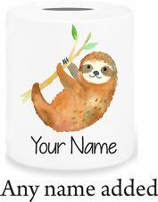 Personalised Cute Sloth Fund Money Box Savings Piggy Bank Birthday Xmas