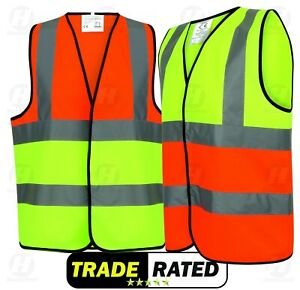HI VIS VIZ VEST YELLOW ORANGE HIGH WORK SAFETY WAISTCOAT VISIBILITY WORKWEAR NEW
