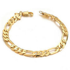 6mm Mens Chain Flat Gold Plated Stainless Steel Bracelet Bangle Cuff Charm Gift