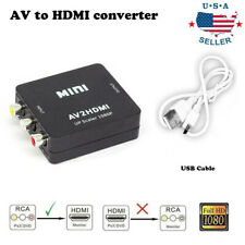Input AV RCA to HDMI Output Video Converter Adapter 1080p Upscaler+ USB Cable