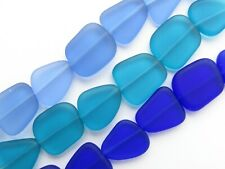 Sea Glass BEADS 15mm flat freeform frosted matte glass jewelry making supplies