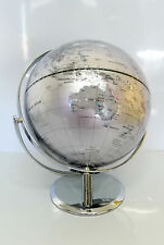 EDUCATIONAL HIGH QUALITY SILVER WORLD GLOBE DOUBLE AXEL CHROME BASE HOME 25cm