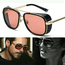 Red Lens Tony Stark Steampunk IronMan Mens Unisex AVIATOR Vintage Sunglasses