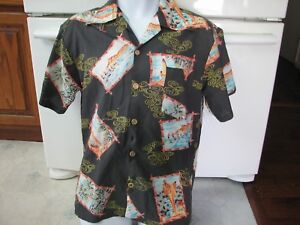 Ocean Pacific OP early 1970's vintage poly Hawaiian shirt surfing men's large