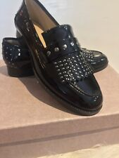 BOTKIER Victoria Black Patent Leather Studded Kiltie Loafers 8.5 Worn Once Mint