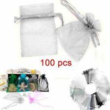 100 Organza Favour Pouches Gift Bag Voile Net Bags Drawstring Candy Sack Wedding