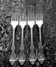 """4 Dinner Size Forks 7 3/4"""" Long King Edward Gorham Sterling Silver"""