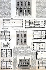 Cheap Housing in Major Cities 1875 FIRE PROOF HOUSING PLANS  Antique Art Matted