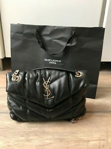 YVES SAINT LAURENT black leather Loulou puffer MINI shoulder bag RRP $2100