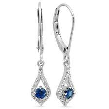 0.50 CT 10K White Gold Round Blue Sapphire & White Diamond Ladies Drop Earrings