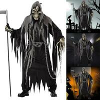 Mens Zombie Ghost Face Halloween Scream Scary Fancy Costume Cloth Robe