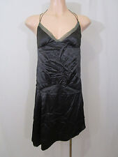Cue Strappy Dress Size 10 | Dropped Waist | Charcoal Sateen NWT