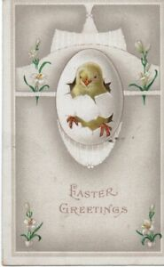 VINTAGE EASTER GREETING postcard:  CHICK HATCHING FROM AN EGG