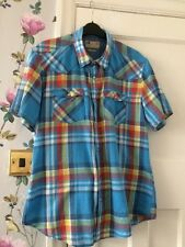 Men's Short Sleeved Shirt Size L With Pearlised Studs By North Coast (M&S)