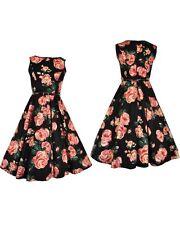 Lady V London Hepburn Rose Dress Size 8, Vintage Reproduction, Rockabilly