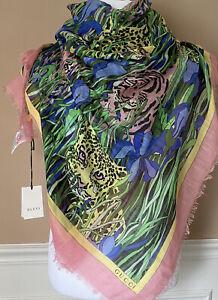NWT Gucci Women's Garden Print Animal Shawl Scarf 140x140 Italy 576774