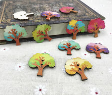 25pcs Wooden buttons  Mixed-color Sewing Scrapbooking Cartoon tree Buttons 28mm